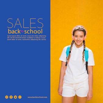 Cartel de ventas de regreso a la escuela con chica adolescente