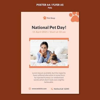 Cartel vertical para adopción de mascotas.