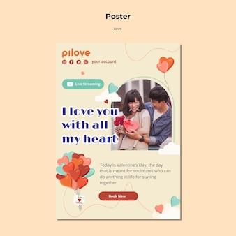 Cartel vertical de amor con pareja romántica y corazones.