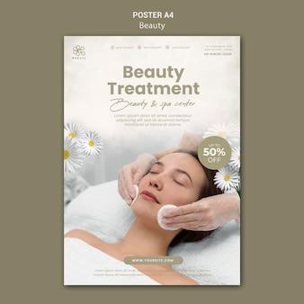 Cartel vertical de belleza y spa con mujer y flores de manzanilla.