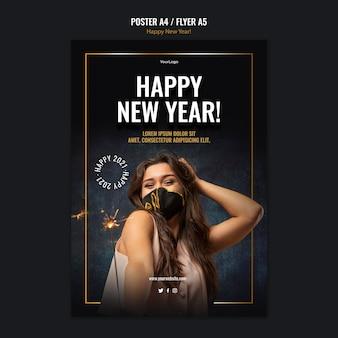 Cartel vertical para celebración de año nuevo.