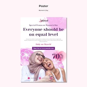 Cartel vertical para la celebración del día de la mujer.