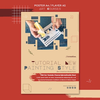 Cartel vertical para clases de pintura