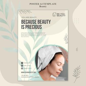 Cartel vertical para el cuidado de la piel y la belleza con mujer.