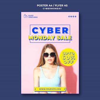 Cartel vertical para cyber monday shopping