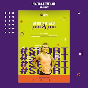 Cartel vertical para deporte con frases motivacionales.