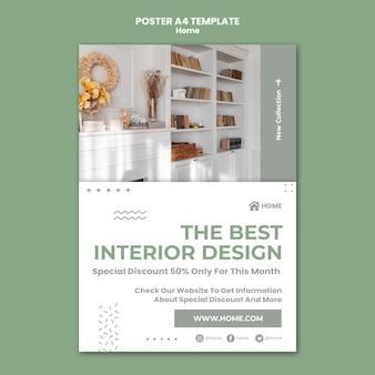 Cartel vertical para el diseño de interiores de casas nuevas.