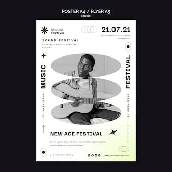 Cartel vertical para festival de música new age.