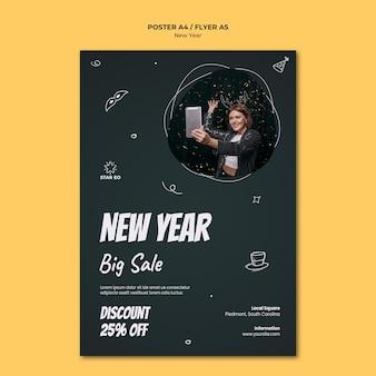Cartel vertical para fiesta de año nuevo.