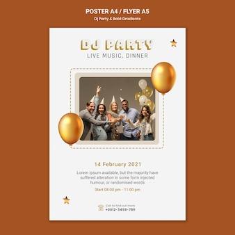 Cartel vertical para fiesta de dj con personas y globos.