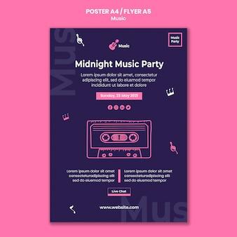 Cartel vertical para fiesta musical.