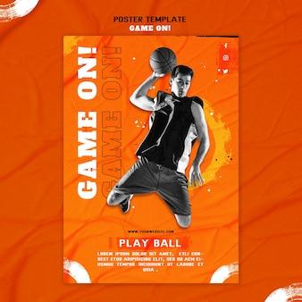 Cartel vertical para jugar baloncesto