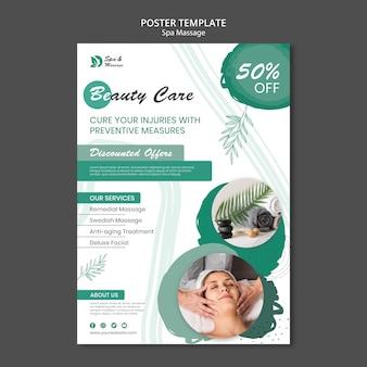Cartel vertical para masaje spa con mujer.