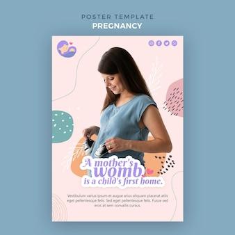 Cartel vertical con mujer embarazada