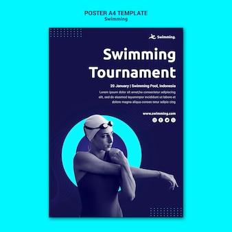 Cartel vertical para nadar con nadadora.