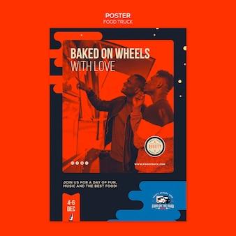 Cartel vertical para el negocio de camiones de comida.