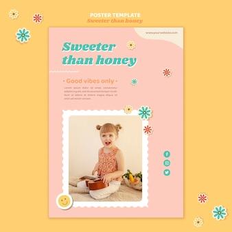 Cartel vertical para niños con flores.