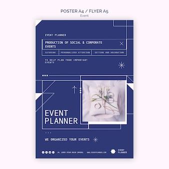 Cartel vertical para la planificación de eventos sociales y corporativos.