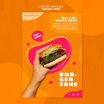 Cartel vertical para restaurante de hamburguesas.