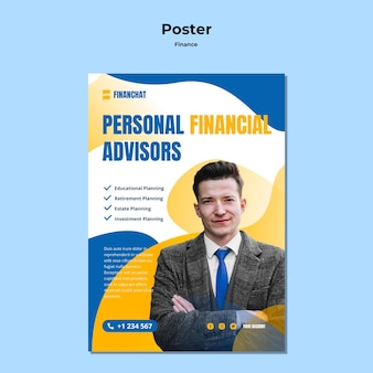 Cartel vertical para seminario de negocios y finanzas.
