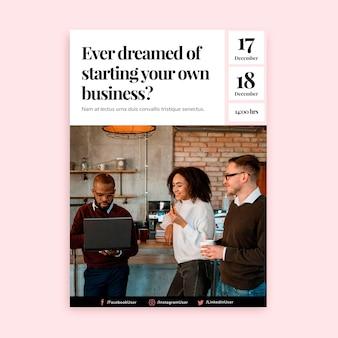 Cartel vertical para trabajo empresarial autónomo