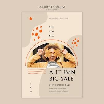 Cartel vertical para la venta de otoño.