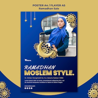 Cartel vertical para la venta de ramadán.