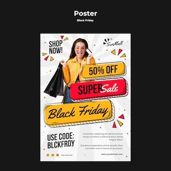 Cartel vertical para venta de viernes negro.