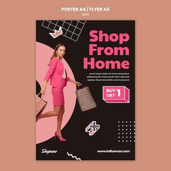 Cartel vertical para ventas con mujer en traje rosa.