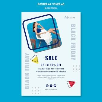 Cartel vertical para viernes negro con mujer y triángulos.
