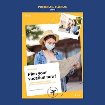 Cartel de viaje o plantilla de volante con foto