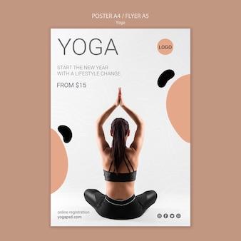Cartel de yoga con mujer meditando