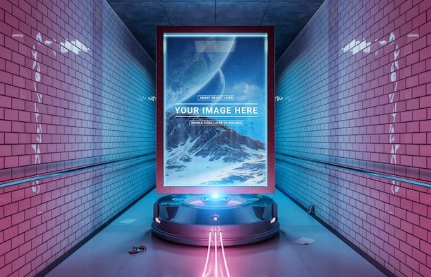 Cartelera futurista en maqueta sucia estación de metro subterráneo