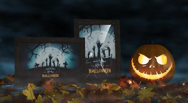 Carteles de cine para la celebración de halloween con calabaza de miedo