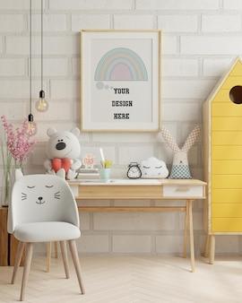 Carteles de maqueta en el interior de la habitación del niño, carteles en la pared blanca vacía,