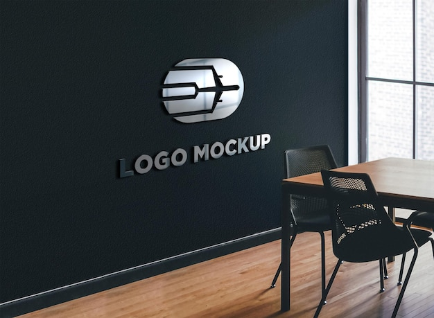 Carteles de pared vista lateral de la maqueta del logotipo cromado