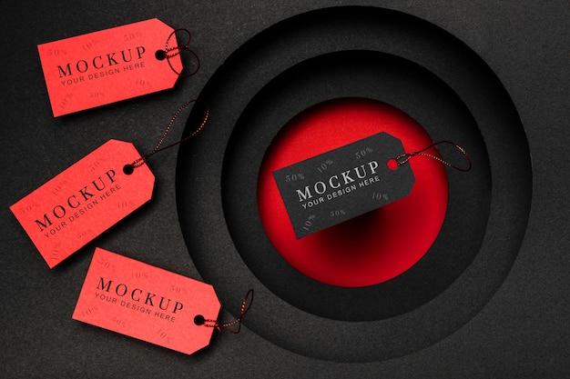 Cartellini dei prezzi rosso e nero mock-up venerdì nero