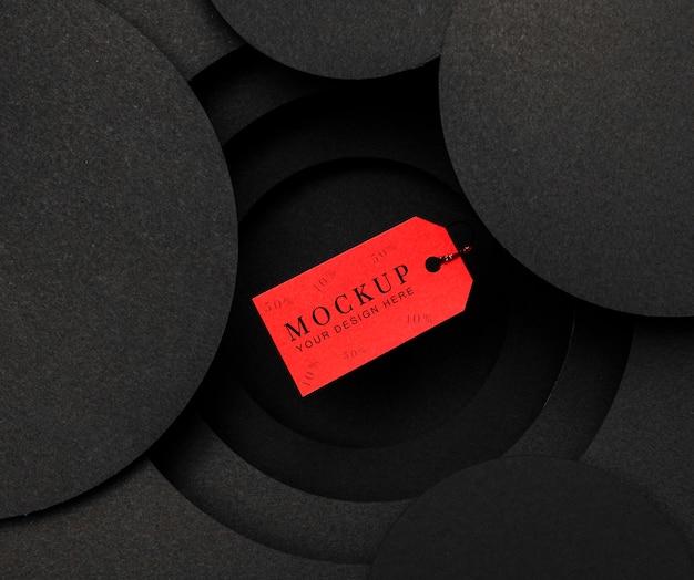 Cartellino del prezzo rosso mock-up venerdì nero