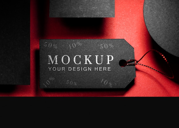 Cartellino del prezzo venerdì nero mock-up vista dall'alto con filo