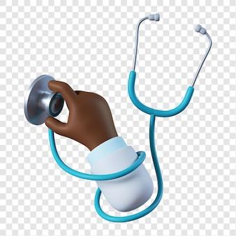 Cartoon afro-amerikaanse arts hand met een stethoscoop