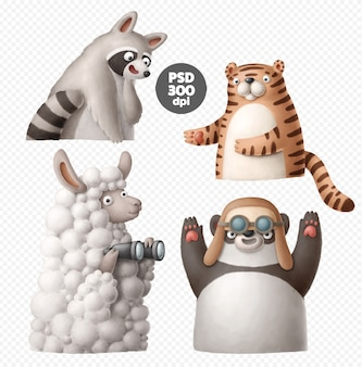 Cartoon dieren clipart set geïsoleerd