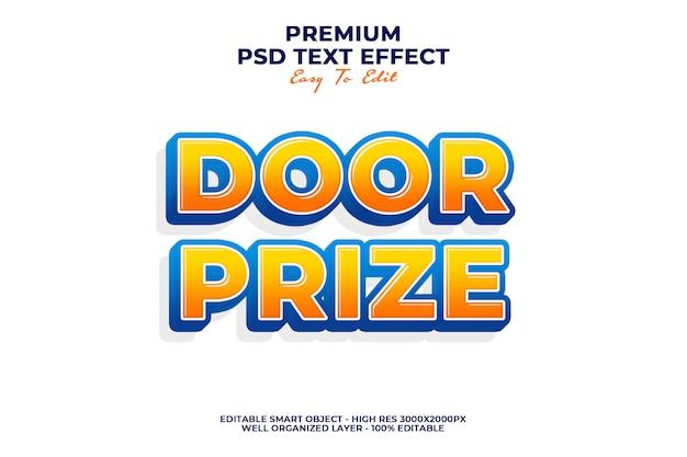 Cartoon door prize text effect premium psd