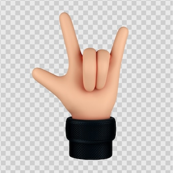 Cartoon hand met rock gebaar, hoorns gebaar 3d render geïsoleerd