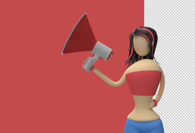Cartoon karakter vrouw stond met luidspreker transparant psd-bestand.
