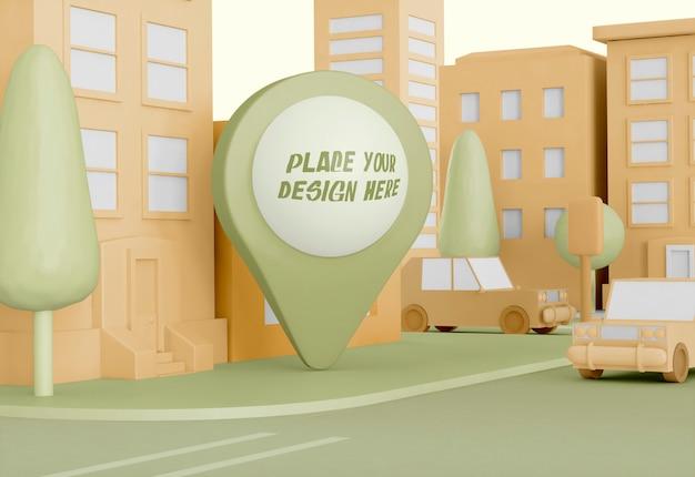 Cartoon stad met kaart aanwijzer mockup