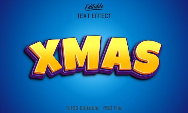 Cartoon-stijl 3d xmas bewerkbaar teksteffect