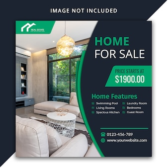 Casa in vendita design del modello di social media