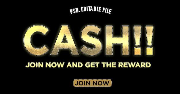 Cash join tittle teksteffect in gouden kleur
