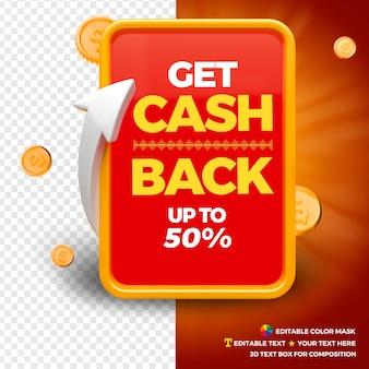 Cashback concept met munten, pijlen en tekstvak