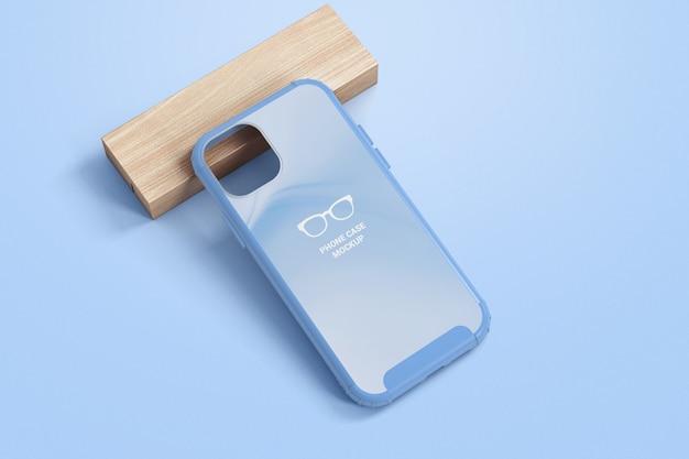 Cassa del telefono su un mockup di blocco di legno